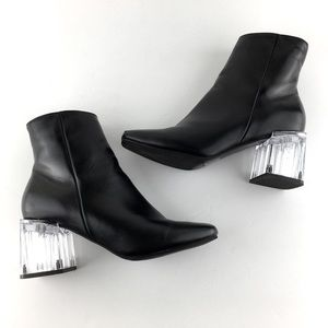 Truffle Collection Black Chunky Plastic Heels Sz9
